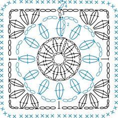Crochet Mandala Pattern, Crochet Blocks, Granny Square Crochet Pattern, Crochet Diagram, Crochet Stitches Patterns, Crochet Chart, Crochet Squares, Crochet Granny, Diy Crochet