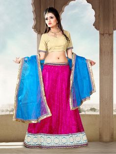 Pink Net Lehenga Choli with Lace Work