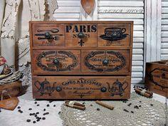 """Купить комод сосна """"Сafe de Paris"""" - коричневый, комод, комод для мелочей, для специй, кухня"""