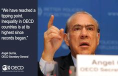 """We have reached a tipping point. Inequality in #OECD is at its highest since records began"" Time to #EvenItUp!"
