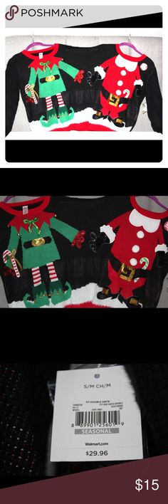 2 Person Christmas sweater 2 Person Christmas sweater. Wear it with a friend to a holiday party or with a family member for family pictures. Would make a great holiday gift. I have 3 available. 2 are size L/XL and one is a S/M. No visible flaws. Tags still attached. Feel free to make an offer. Sweaters