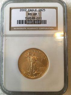 2002 Gold Eagle $25 Half-Ounce MS 69 NGC 1/2 oz Fine Gold