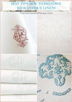 Antique linens impart a gracious sense of welcome to your home, caring for them is easy. Here are my BEST TIPS on How to Preserve Your Antique Linens. Large Tablecloths, Fade Color, Linens And Lace, Satin Stitch, Antique Lace, Vintage Accessories, Linen Fabric, French Antiques, Preserves