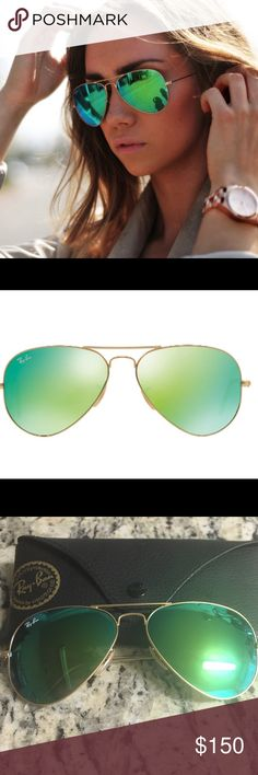 Ray Ban sunglasses Green Ray Ban aviators. Lightly worn. Comes with case and lens cleaner. Non-polarized. Ray-Ban Accessories Sunglasses