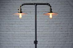 Industrial Floor Light - Adjustable Lamp - Metal Shade - Industrial Furniture - Steampunk Lighting - Iron Pipe Lamp