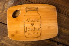 Personalized Mason Jar Love Cutting Board