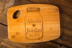 Personalized Mason Jar Love Cutting Board