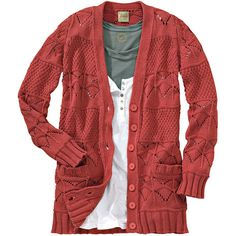 Lykkelig Ajour-Cardigan ($89) ❤ liked on Polyvore featuring tops, cardigans, shirts, sweaters, women, red shirt, red top, cardigan shirt, cardigan top and red cardigan