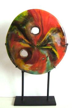 Fused Glass Sculpture  TRIBAL CONCEPT   CIG1847 by CreationInGlass, $155.00