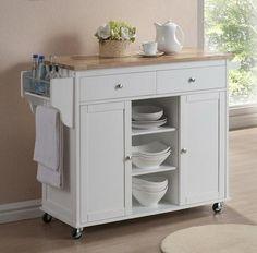 Wholesale Interiors Baxton Studio Meryland Modern Kitchen Island Cart In  White   Kitchen Island   Portable Kitchen Islands Shop