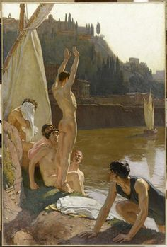 thisblueboy: Georges-Paul Leroux (Freench, 1877-1957), The Bathers in Tiber, Rome