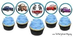 for a disney 'cars' theme party, FREE PRINTABLE cupcake flags using cars charcters