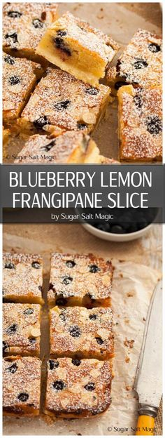 Lemon Blueberry Frangipane Shortbread Bars have a crunchy shortbread base, topped with frangipane filling, lemon and blueberries. #shortbreadbars #frangipane
