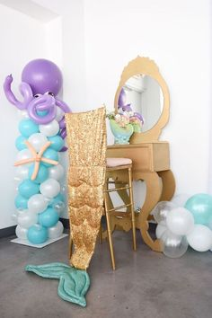 105 Balloon Column with Octupus Sea Creature, Gold Vanity with Gold Chiavari Chair Stool & Mermaid Tail Stool Dress- Event Planning: One Inspired Party Little Mermaid Birthday, Little Mermaid Parties, 4th Birthday Parties, Birthday Party Decorations, Mermaid Balloons, Bubble Guppies Birthday, Mermaid Baby Showers, Balloon Columns, Under The Sea Party