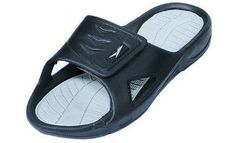 New Men's Rubber Slide Sandal Velcro Strap in Black Beach or Shower (12) $12