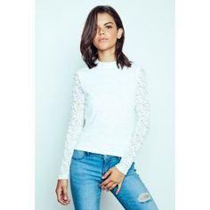 A long sleeved top crafted from a floral lace knit featuring a mock neckline and a double buttoned back with a keyhole accent. Urban Planet, Fall Trends, Lace Knitting, Guys And Girls, Floral Lace, White Lace, Long Sleeve Tops, Lace Dress, Girl Fashion