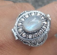 New Nov 925 Sterling Silver Balinese Poison Box Ring Rainbow Moonstone Size 9 | eBay