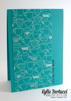 Kylie Bertucci | Have a Cuppa Designer Series Paper Stack - Find out how you can make 24 cards in less than an hour and for less than 40c each! #stampinup #kyliebertucci #haveacuppa #starburstsayings