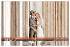 Charli & Andrew enjoy a quiet moment outside the west doors of St. Paul's cathedral. Basingstoke wedding photographer. Hampshire.