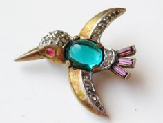 Vintage 40s Crown Trifari Alfred Philippe Jelly Belly Rhinestone Bird Brooch Pin