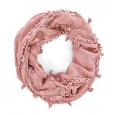 Blush Lightweight Infinity Scarf with Poms. Love it! This would go with absolutely everything!