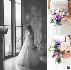 Bride and wedding bouquet at Lulworth Castle in Dorset