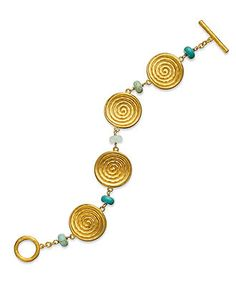 Lauren Ralph Lauren Bracelet, 14k Worn Gold-Plated Turquoise and Crystal Swirl Disc Toggle Bracelet - Fashion Bracelets - Jewelry & Watches - Macy's