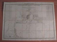 ISLAS MARIANAS PALAOS Y CAROLINAS -FRANCISCO COELLO - 1852- MAPA ENTELADO -GRAN FORMATO - - Foto 1