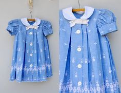 50s 60s Dress Floral Embroidered Girl Dress Frock  Pleated