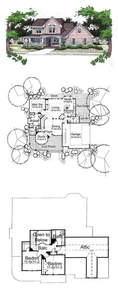 Country House Plan 65823 | Total Living Area: 1999 sq. ft., 3 bedrooms & 2.5 bathrooms. #houseplan #countryhome