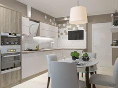 Оформление кухни, современный стиль, бежевые, серый, белый (kitchen contemporary gray white) | Студия LESH