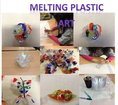 Chihuly inspired melting plastic art What you will need: Disposable Plastic dishes /bowls (Dollar store) Different color Sharpies markers Oven 350 degrees  15 sec