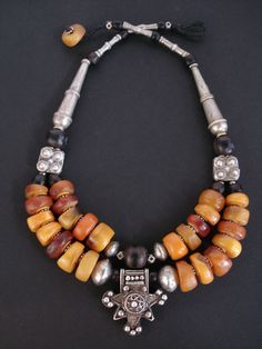 Stunning Antique Moroccan Fossil Amber, Black Coral & Silver Necklace