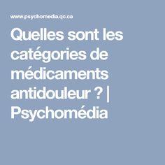 Quelles sont les catégories de médicaments antidouleur? | Psychomédia