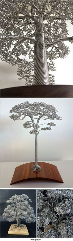 Dense Wire Tree Sculptures by Clive Maddison
