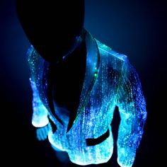 Lighting in four different colours and modes, Your Mind Your World glow in the dark fiber optic light up jacket is perfect for raves and music festivals.