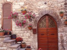 Exterior of House with Flowers, Italy Photographic Print at AllPosters.com