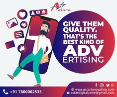 """Give them quality. That's the best kind of advertising."""" A star innovation helps you in getting a distinct identity for your business by designing excellence that establishes and escalates your brand image in the market effectively.  #DigitalMarketing #BrandImage #Promotion #BusinessDevelopment #AdvertisingSolution #BestQuality #BrandImage #Establishes #EscalatesBrand #BusinessSolution #Astarinnovation Out Of Home Advertising, Advertising Agency, Digital Marketing, Innovation, Promotion, Identity, Branding, Good Things, Star"""