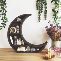 Just a bit of moon magic for your altar tables! These gorgeous crescent moon shelves will be in the shop update on the June and… Goth Home Decor, Boho Decor, Decorating Your Home, Interior Decorating, Crystal Room, Moroccan Theme, Apartment Makeover, Old Room, Moon Magic