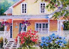 """""""Beautiful Rosemere"""" - by Nicole Gelinas. Watercolor Disney, Watercolor Artists, Watercolor Illustration, Watercolor Paintings, Watercolor Architecture, Watercolor Landscape, House Landscape, Landscape Art, Porches"""