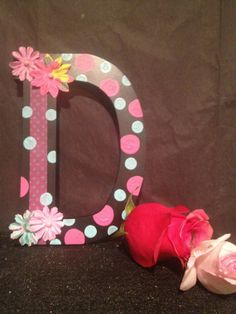 Funky and fun black personalized initial with pink and by Bedotted, $12.50