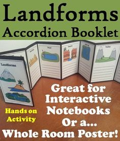 This landforms booklet is a fun hands on activity for students to use in one of two ways: 1. Students can be provided certain landforms to make a small accordion booklet for their interactive notebooks2.
