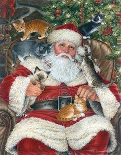 Awww...purrr-fect rest for Santa