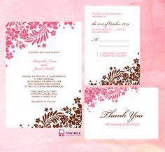 heartful flowery wedding invite