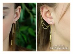 Unique and Super Cool Gold Plated Set of Chain Earrings - Ear Jacket Cain Earring and Multi Strand Double Sided Ear Cuff Wrap Earring with Drop Bars. #paulalapidot #unique #edgy #etsy #handmadejewelry #earrings #earjacket #earcuff #jewelrydesign #goldjewellery