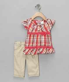 Take a look at this Orange Plaid Tunic & Pants - Toddler & Girls by Young Hearts on #zulily today!