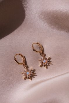 Stardust Opal Earrings - Gold Plated Stardust Earrings Do you like minimalist jewelry? Check out our simple yet gorgeous gol - Ear Jewelry, Dainty Jewelry, Cute Jewelry, Gold Jewelry, Jewelry Accessories, Fashion Accessories, Jewelry Necklaces, Women Jewelry, Gold Bracelets