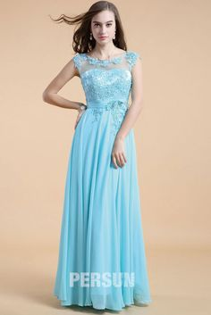 Blue tone Long Prom Dress with appliques bodice [LC21310] - PersunMall.com