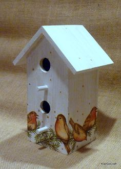 Decoupaged Wooden Decorative Bird House - for other wooden objects to decoupage visit http://shop.vibesandscribes.ie/craft/decoupage.html