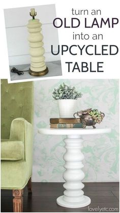 This gorgeous upcycled table is so easy to make and is super inexpensive using an old lamp from a thrift store. And the finished table would look great in almost any space from farmhouse to traditional to modern.